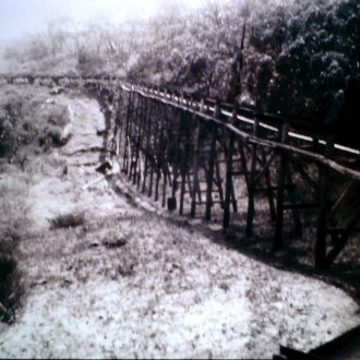 Trestles built to carry the fluming for Stawell's water supply from the Grampians.Engineer was Mr John D'Alton and the project was completed in 1881.