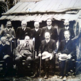 Lord Carmichael, Governor of Victoria with Borough Councillors at the original Borough Huts 1909.